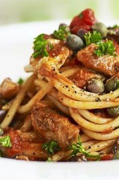 SPAGHETTI with TOMATOES, SARDINES, OLIVES & CAPERS [Italy] [bbcgoodfood] [preserved seafood, canned tuna, tinned tuna, canned seafood, tinned seafood]