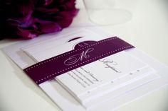 Purple Wedding Invitations - Circle Monogram Sample. $6.50, via Etsy.