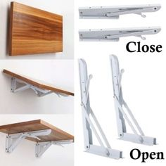 White Metal Folding Triangle Angle Shelf Wall Mounted Support Bracket Rack for sale online Folding Furniture, Folding Walls, Space Saving Furniture, Diy Furniture, Shelf Support Brackets, Shelf Supports, Wall Mounted Table, Wall Mounted Desk Folding, Wall Table Folding