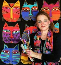 Laurel Burch and her cats. Great for complementary color cats lesson plan.