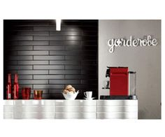 black wall tiles Black Wall Tiles, Black Walls, Statements, Shelves, Kitchen, Home Decor, Shelving, Cooking, Decoration Home