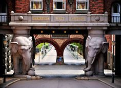 Elephant Gate at Carlsberg Brewery, Copenhagen - pre-Nezi swastikas (Buddhist symbol for luck) adorns the portal to Carlsberg brewhouse. Places Around The World, Around The Worlds, Art Nouveau, Destinations, Denmark Travel, Voyage Europe, Copenhagen Denmark, Water Tower, Like A Local