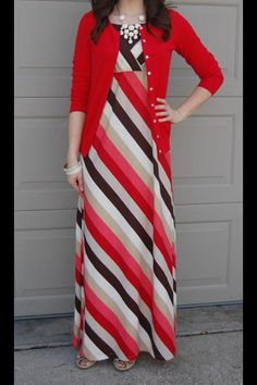 Red coral and brown striped maxi dress with red cardigan. Modest summer fashion