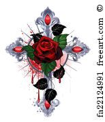 Silver cross with a red rose and black leaves on a white background. Cross Wallpaper, Heart Wallpaper, Cross Coloring Page, Coloring Pages, Image Rose Rouge, Tattoo Caveira, Heart With Wings Tattoo, Aztecas Art, Tribal Rose