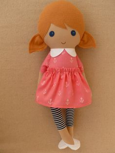 Fabric Doll Rag Doll Blond Haired Girl in Pink by rovingovine, $38.00