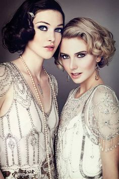 Make-up!  Girl with the dark hair: Love the eyes paired with flawless skin and pretty pink lips perfect #Gatsby style
