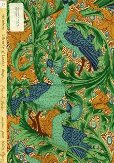 Peacock Garden. Liberty of London Prints. Adapted from a Walter Crane design c. 1900 for Liberty's 1975 range of textiles.