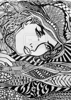 Zentangle line drawing.