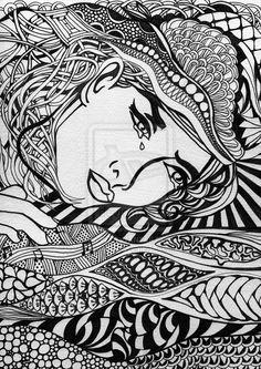 Zentangle line drawing.