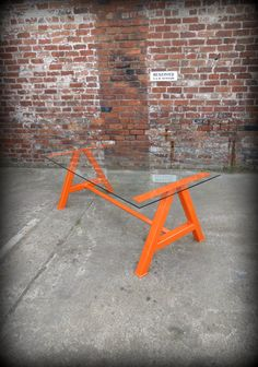 Modern Industrial Chic Glass Top 'A' Frame Dining Table by RCCLTD