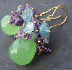 Catavina earrings = green chalcedony briolettes, dark and light amethyst rondelles, turquoise-blue apatite nuggets    by seafairiesjewelbox