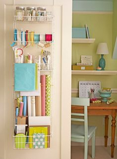 door wrapping paper organizer bhg