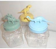 nursery or boys room decor - plastic dinosaur jars - set of 3 - baby shower or gift