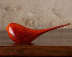 Wooden Bird Carving Figurine Sculpture Orange Padauk Wood, Hand Carved by Perry Lancaster