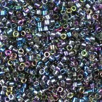 Miyuki 11/0 (1.6mm) Delica Magic Blue glass cylinder beads, colour number DB 2206. Part transparent crystal, part rainbow finish in shades of sapphire, purple and green. UK seller.