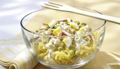 Probier doch mal unseren Nudelsalat mit Erbsen und Fleischwurst, abgerundet mit einer Remouladensauce. Das schnelle Partyrezept.