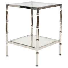 Worlds Away Serena Nickel Side Table @Layla Grayce