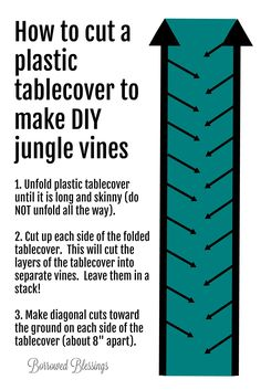 DIY Jungle Vines from Plastic Tablecovers - Shipwrecked VBS Decor - Borrowed BlessingsBorrowed Blessings