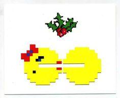 8-Bit Pacman Mistletoe Christmas Love Card