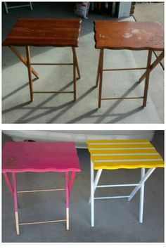 Folding TV Stand/tray Makeover. Wouldnu0027t Use Such Bright Colors, But