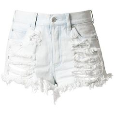 White High Waisted Denim Shorts - Destroyed (1,740 PHP) found on Polyvore