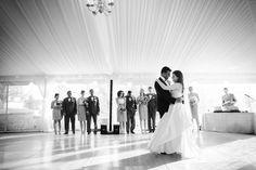 First dance photo from a tented wedding at The Comus Inn at Sugarloaf Mountain.