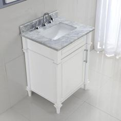Home Decorators Collection Aberdeen 24 in. W x 22 in. D Vanity in White with Marble Vanity Top in White-8103200410 - The Home Depot