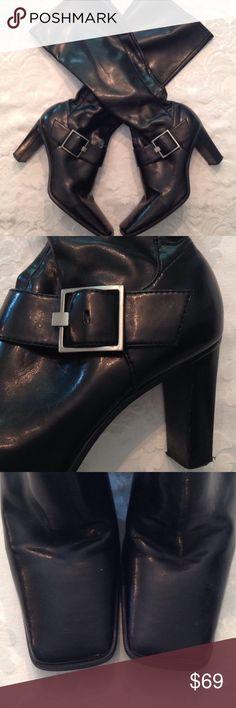 "Great Preworn condition EnzoAngiolini BuckledBoots ❤️Great condition shiny black buckle 3"" heeled boots by Enzo Angiolini Enzo Angiolini Shoes Heeled Boots"