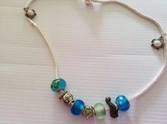 under the sea necklace with turtlessea horseand glass beads