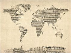 Map of the World Map from Old Sheet Music Art Print from artPause on Etsy. Saved to Map Art. World Map Art, World Map Canvas, Old Sheet Music, Vintage Sheet Music, Music Sheets, Piano Sheet, Sheet Music Crafts, Canvas Wall Art, Music Canvas