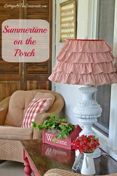I love this summer porch so much! Beautiful red and white inspiration.