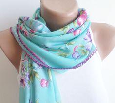 scarf stylish accessory Blue thin scarf women by BloomedFlower, $22.00