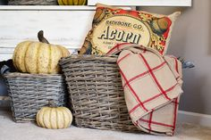 Our primitive, yet sturdy storage baskets can do double duty! Use them for decorations and fill with our natural, faux pumpkins or more practically, for extra blankets and pillows for those chilly fall evenings.