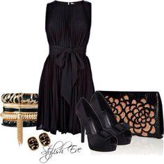 Black dress women's fashion outfit idea