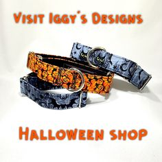 "1-1/2"" Martingale Collar Halloween Martingale Collar Spooky Greyhound Collar Italian Greyhound Whippet Collar Wide XLarge Collar Colorful by IggysDesigns on Etsy"