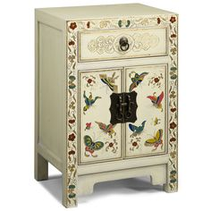 Lovely Chinese butterfly cabinet decorated with gold leaf and painted by hand. The colourful butterflies on the doors are framed on the outside with flowers in gold, red and green. The butterfly is a symbol of happiness in a marriage for the Chinese and as such is often seen on painted Chinese cabinets and chests that were made to be given as part of a wedding settlement. These ones are beautifully made with traditional wooden peg hinges and a single drawer at the top.