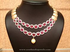 Double layer designer gold ruby necklace from NAJ jewellery. For inquires check the seller address below. Seller Name : NAJ Jewellery Address : 957, Jewel J