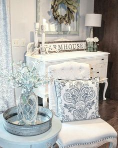 Glam Farmhouse decor. Vintage buffet
