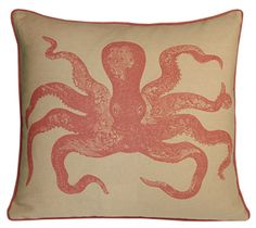 cuttlefish linen pillow by kevin o'brien