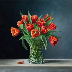 'Tulpen in Vaas' (Olieverf op linnen - 60x60cm)