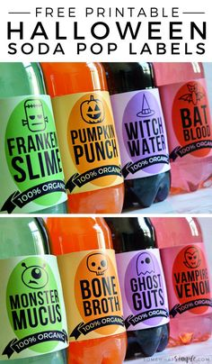 These Halloween Soda Labels are a simple way to add some fun to your Halloween party! Halloween soda labels are a simple way to add some fun to your next Halloween party! Halloween Tags, Halloween Food For Party, Holidays Halloween, Halloween Crafts, Happy Halloween, Vintage Halloween, Halloween Drinks Kids, Halloween Cupcakes, Halloween Horror
