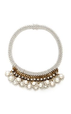 Silver Crystal And Pearls Necklace by venna Now Available on Moda Operandi