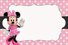 <center>Minnie rosa e preto</center> Image Minnie Mouse Baby Room, Minnie Mouse Theme, Minnie Mouse Template, Minnie Mouse Birthday Invitations, Minnie Mouse 1st Birthday, Disney Scrapbook, Mouse Parties, Baby Shower Invitations, Creations