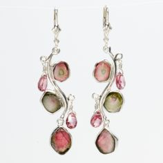 Earrings | Jewelry.  Branched Earrings. These branched earrings are chandeliers cascading watermelon-hued tourmaline teardrops nestled amid other organic gemstones.   http://shrsl.com  /?~3akc  $150.50