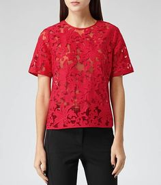 Womens Icon Red Semi-sheer Embroidered Top - Reiss Orinoco