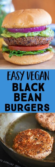 These Vegan Black Bean Burgers are SO easy to make! You only need a few simple ingredients but they're full of flavor and hold together perfectly! You can even cook them on the grill if you want! #veganburger #veggieburger #blackbeanburger #vegan Vegan Meal Prep, Vegetarian Recipes Dinner, Good Healthy Recipes, Vegan Recipes Easy, Lunch Recipes, Easy Dinner Recipes, Dinner Ideas, Sandwich Recipes, Vegan Dinners