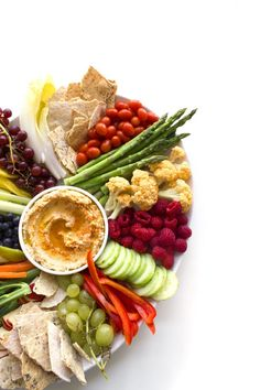 A Simple Crudités Platter & Easy Hummus Dip | This fresh, seasonal fruit and veggie platter takes less than 30 minutes to put together!