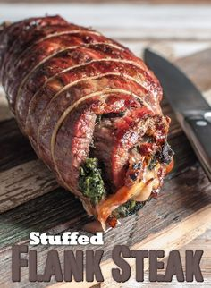 Stuffed Flank Steak by Southern Boy Dishes Sub asparagus for the spinach and it's a go.