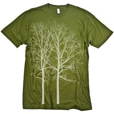 An absolutely stunning design of a tree silhouette screen-printed onto an Olive Womens T-shirt in white ink. See the forest for the trees