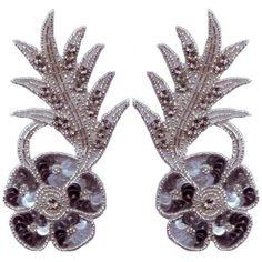Glass Beaded Sequin Rhinestone Applique Pair